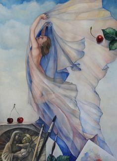 Watercolor & White gouache Size: cm This painting is about feeling of joy. White Gouache, Let Your Light Shine, Surreal Art, Surrealism, Worlds Largest, Heaven, Joy, Watercolor, Deviantart