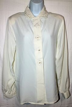 Ives St. Clair Casual Ivory Long Sleeve Women's Top Blouse Shirt  Size 12 #IvesStClair #Blouse #Career