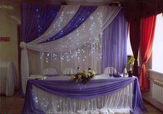 Оформление для свадьбы в сиреневых тонах: задник, стол молодоженов, подсветка…