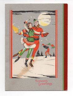 Vintage 1930's Christmas Greeting Card Colorful Victorian Couple Ice Skating