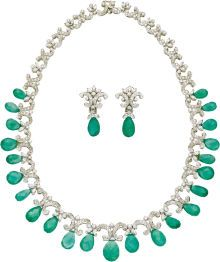 Estate Jewelry:Lots, Emerald, Diamond, White Gold Jewelry Suite. The suite includes: anecklace and matching pair of earrings, featuring an arr... (Total:1 Item)
