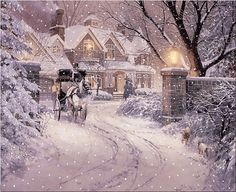 (usa) Wintertime by Thomas Kinkade born in California. Winter Szenen, Winter Magic, Winter Time, Winter Season, Christmas Scenes, Christmas Art, Winter Christmas, Thomas Kinkade Art, Thomas Kinkade Christmas