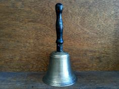 Vintage English Brass Bell with Wood Handle by EnglishShop on Etsy, $49.00