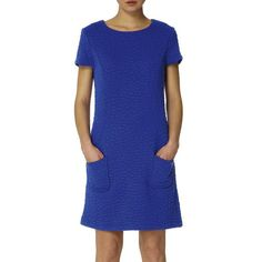 Irwin Dress - This inspired shift dress comes in Sapphire blue quilted jersey. An easy to wear style that features patch pockets and short sleeves. Dress it up with a blazer for work or wear or team with a cardigan for a more casual weekend look. 1960s Inspired, Short Sleeves, Short Sleeve Dresses, Casual Weekend, Blue Sapphire, Dresses For Work, Pockets, Blazer, Easy