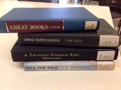 """""""What Books Mean to Me"""" - Great books / Great expectations / A thousand splendid suns / Into the wild #butlerbookspine"""