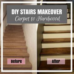 DIY Stairs Makeover – From Carpet to Hardwood Stairs DIY Makeover escadas – Tapete para Hardwood – KAinspired Refinish Stairs, Redo Stairs, Basement Stairs, Staining Stairs, Basement Ideas, Home Stairs, Basement Inspiration, Hardwood Stairs, Wooden Stairs