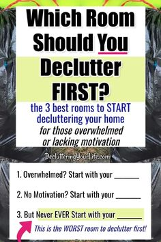 decluttering strategies and secrets that actually work. my house is so cluttered i don't know where to start - this is best room to start decluttering if you're overwhelmed with too much stuff or have a normal messy house thinking my house overwhelms me - declutter your home checklist for which room to start. House Is A Mess, Messy House, Feeling Sad, How Are You Feeling, Decluttering Services, Clutter Solutions, How To Get Motivated, Keep The Lights On, Declutter Your Home
