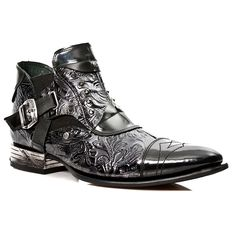 New Rock Boots Style M.NW135-S1 Flower Ankle Boot (Black)