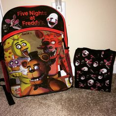 My sons #fnaf backpack and lunchbox! #fnafhs