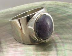 star ruby cabochon silver ring
