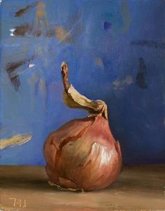 daily painting titled Roscoff onion with blue background - click for enlargement