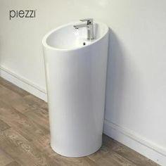Lavabo - Vasque Colonne, Vasque sur pied ronde en céramique blanch