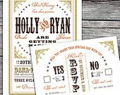 Western Chic Wedding Suite - Custom Wedding Invitation and Reply. Option to Print.