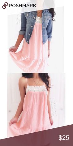 """NWOT Dainty Pink & White Lace Slip Dress This cute & dainty slip dress has an off white cream lace trim along the neck. It's a cute dress to pair with a jean jacket & looks great cinched w/a belt. New w/o tag {actual color of item may vary slightly from photos}  •chest:19"""" •waist:20""""w •length:28.5"""" •straps:adjustable   Material:100%polyester ️️hand wash  Fit:true Condition:no rips no stains ✨new without tags✨ ❌no holds ❌no trades ♥️️bundles of 3/more items get 20% off Flying Tomato Dresses"""