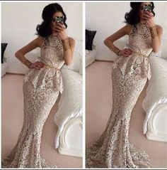 Cheap evening dress Buy Quality lace evening dresses directly from China formal evening gowns Suppliers: Elegant Mermaid O-Neck Sleeveless Formal Evening Gown Floor Length Long Lace Evening Dresses 2016 With Sashes African Dresses For Women, African Attire, African Women, Ghanaian Fashion, African Fashion, Nigerian Fashion, Nigerian Clothing, Mermaid Evening Dresses, Evening Gowns