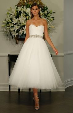 Romona Keveza Collection Sweetheart Tea Length Gown | KleinfeldBridal.com