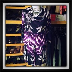"""1283) Alfani like new tunic with elastic waist Adorable with black leggings or tights. Purple, black and white with draped neck and working front pockets. Sz small women's but would fit up to a 6. Measures: 19"""" pit to pit x 34""""L. Sleeves are 3/4. Waist is elastic but also adjustable with tie. Fabric: poly/spandex Alfani Tops Tunics"""