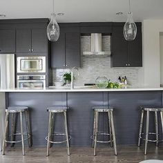 modern gray kitchen with round chrome counter stools - Modern Kitchen Cabinets Images