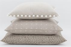 Neutral style cushion combinations from the Basics Range #neutral #taupe #pompom