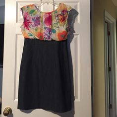 Great spring dress Top is gauze like with built in cami underneath. Bottom part is jean color. Good stretch in the bottom for comfort.  Small stain on cami which you can't see when wearing. Discounted. Alyx Dresses Midi