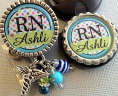 Stethoscope ID tag/  badge reel set- Nurse RN Personalized Name -  L&D NICU nurse doctor medic healthcare profession (29.00 USD) by buttonit