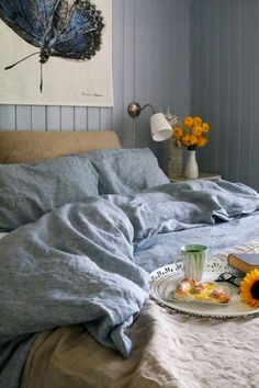 Create the cozies guest room or family room with this gorgeous and soft blue linen bedding. Duvet and pillows available in a variety of sizes. Linen Sheets, Linen Bedding, Duvet, Blue Bedroom Decor, Blue Tones, Dream Bedroom, Family Room, Pillows, Cozies