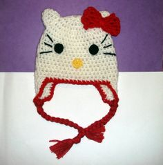 Hello Kitty Hat CROCHET PATTERN Beanie and by PatternStudio1, $2.99