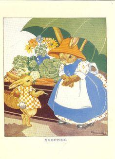 1950s Childrens Print  Young Rabbit Shopping by printsandpastimes, £6.00