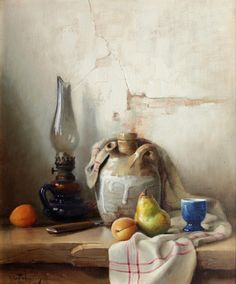 Robert Chailloux. Still life of fruit, a lamp and a stoneware jar