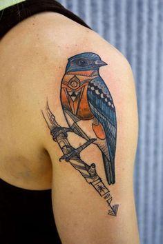 Songbird Tattoo on Back Shoulder by David Hale