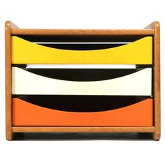 Lacquered Drawer Box by Borge Mogensen Sweden A solid oak desk organizer with lacquered wood trays (also available in grey and red) Designed by Borge Mogensen for Karl Andersson & Soner Solid Oak Desk, Paper Storage, Red Design, Desk Accessories, Danish Design, Retro, Modern Furniture, Recycled Furniture, Vintage Furniture