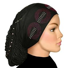 Royal Snood Ruched Hijab Cap with Rhinestones bc978597176e