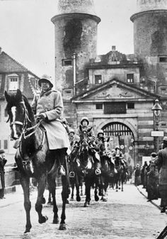 German mounted cavalry enter the Rhineland. Germany disbanded its mounted cavalry in 1941 but reintroduced it a year later to counter the guerrilla tactics of the Russian Cossacks.