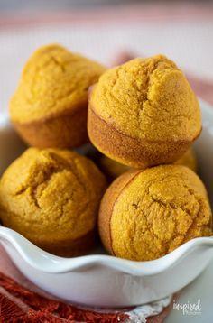 Easy Pumpkin Corn Muffins #cornmuffins #cornbread #bread #muffin #recipe