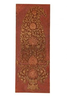 This rare piece of wall art has fine brass inlayed in carved wood bringing to life the eternal Mughal paisley in an exquisite and intricate design. Best placed against a bold coloured wall.