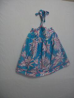 PATSY AIKEN BABY GIRL SIZE 2T SUNDRESS BLUE SUMMER HALTER 100% COTTON EVERYDAY #Everyday