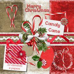Digital Scrapbook Kit - Candy Cane