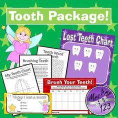 Tooth Package- Lost Teeth Chart, Brushing Teeth Chart, Car