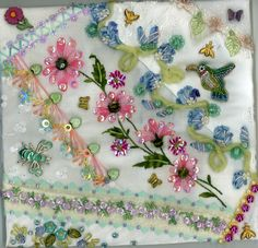 I ❤ crazy quilting . . . Floral Crazy Quilt Block 9 ~By Kitty And Me