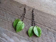 Green leaves earrings long chain earrings nature lover gift