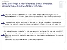 Strong brand image of Apple distorts real product experience.  Samsung Galaxy definitely catches up with Apple.    Consumer awareness of the iPhone's success and its reputation for usability makes users explicitly state that the iPhone is easier to use and more attractive than the Samsung Galaxy S2.    On an emotional, implicit level users are stimulated by a straight forward and powerful brand image. They associate positive items faster and more often with the iPhone than with Galaxy S2.