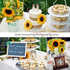 Sunflower themed wedding cake and cupcakes