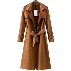 Chicnova Fashion Notch Lapel Coat ($50) ❤ liked on Polyvore featuring outerwear, coats, jackets, brown coat, suede coat and brown suede coat