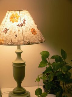 Redo lamp shade with leaves great looknot crazy about the baseneeds wo Lampshade Redo, Paper Lampshade, Paper Light Shades, Lamp Shades, Real Flowers, Paper Flowers, Creative Inspiration, Lights, Interior Design
