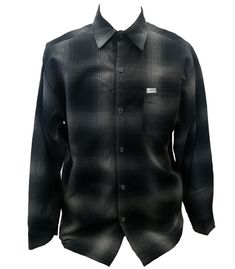 Charcoal Grey Long Sleeve Cafe Racer Style Button Down Shirt. This shirt is perfect if you ride your motorcycle or just want to layer on a cool night. This shirt can easily take the place of a jacket.