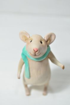 Little Mouse  Polymer Clay Animal Cute Ornament by artofnigrica   Such an adorable little guy!!