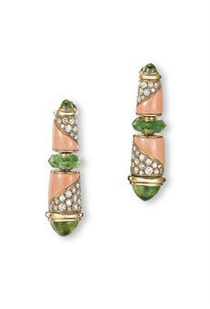 A PAIR OF CORAL, PERIDOT AND DIAMOND EAR CLIPS, BY BULGARI