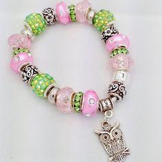 Spring Owl European Style Charm Bracelet by Graceandliz on Etsy, $15.00