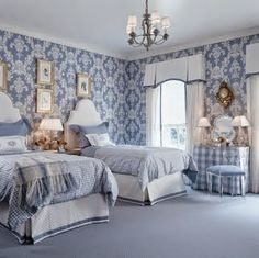 BEDROOM – Guest bedroom – Blue and white bedroom with damask wallpaper, gingham bedding, white headboards, white curtains and bed skirts with blue trim and a girly va. White Headboard, White Curtains, Burlap Curtains, Blue Rooms, White Rooms, Light Blue Bedrooms, Blue Walls, French Country Bedrooms, Modern Country