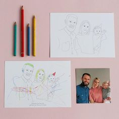 Personalised Colour In Family Portrait Line Drawing Print